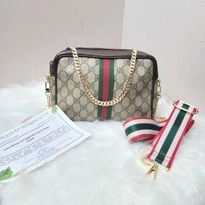 Authentic Gucci web sherry line clutch bag